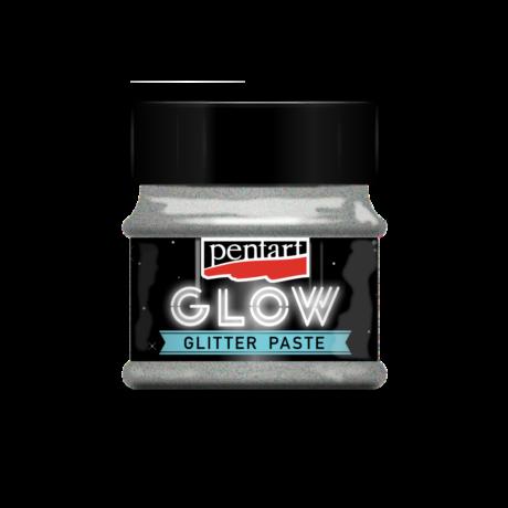 Pentart Sötétben világító glitterpaszta, ezüst, 50 ml